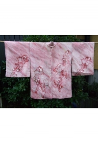 Pink bis Weinrot, Shibori