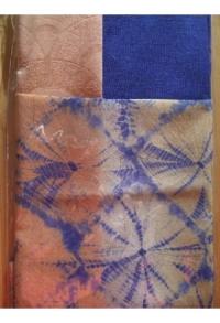 Außergewöhnlich - feinstes Shibori, blau-goldgelb-terracotta