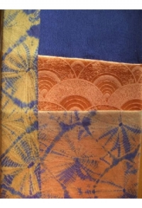 Blau-gold-orange, zartestes Shibori